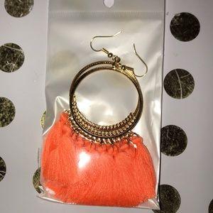 Gorgeous Orange Tassel Fringe Hoop Drop Earrings